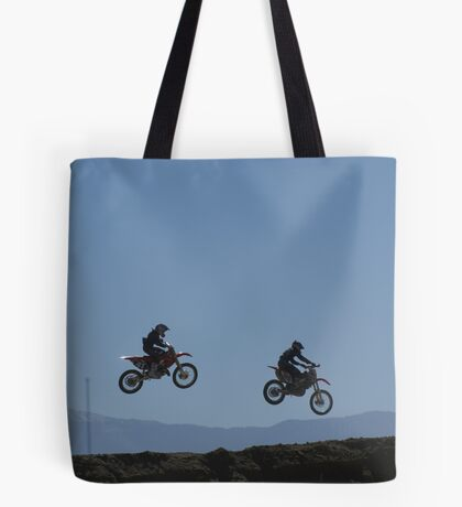 Motocross - Two over the table top  Racetown, CA, USA Tote Bag