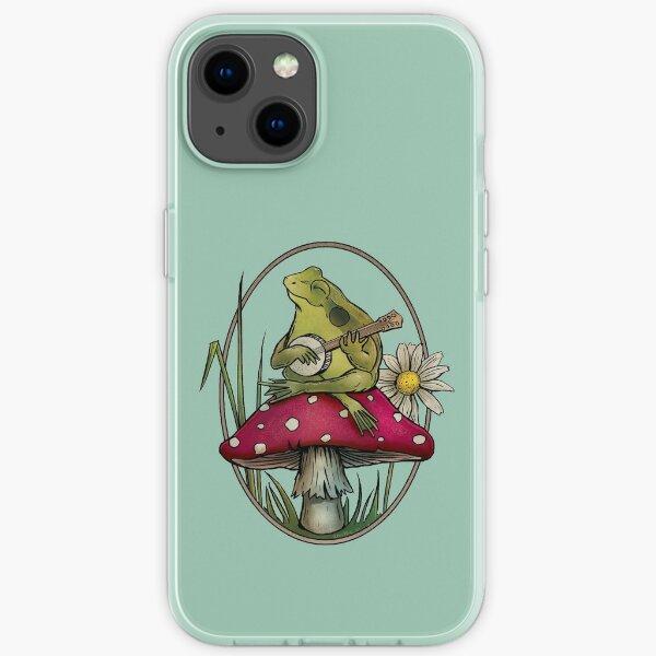 Cottagecore Aesthetic Cute Kawaii Frog Playing Banjo on Mushroom iPhone Soft Case