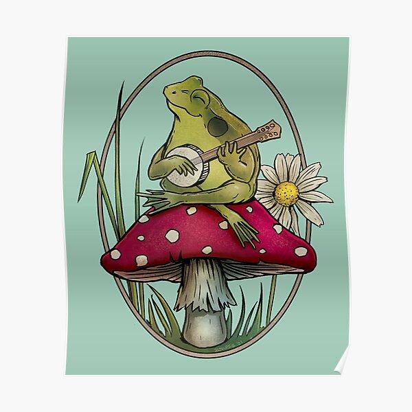 Cottagecore Aesthetic Cute Kawaii Frog Playing Banjo on Mushroom Poster