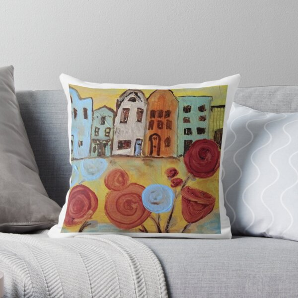 Abstract Amsterdam painting Throw Pillow