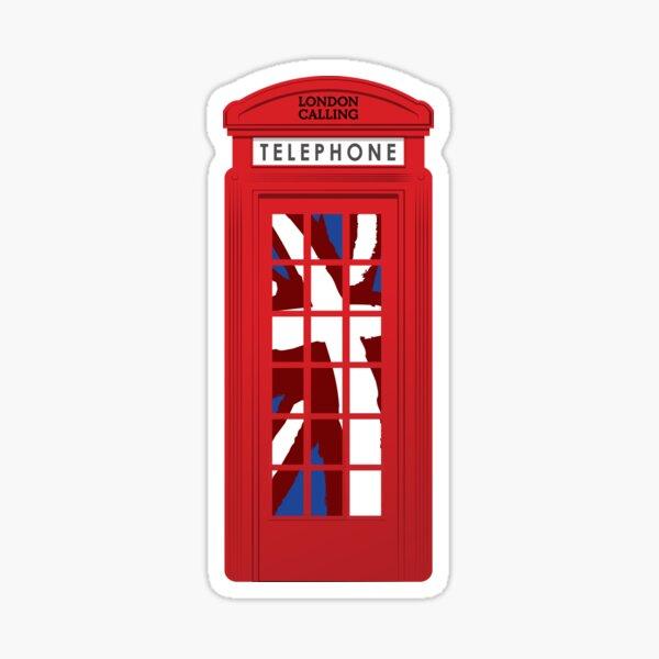 London Calling, Vintage Phone Booth, Union Jack Sticker