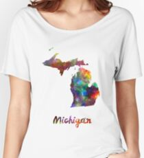 Michigan US state in watercolor Women's Relaxed Fit T-Shirt