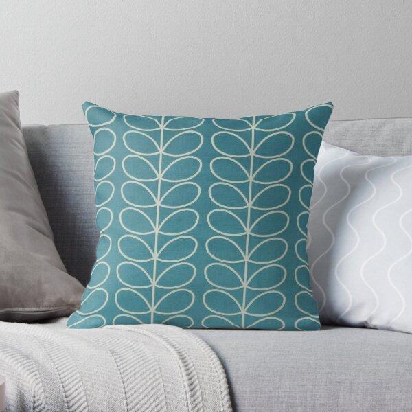 linear stem,blue, white  Throw Pillow