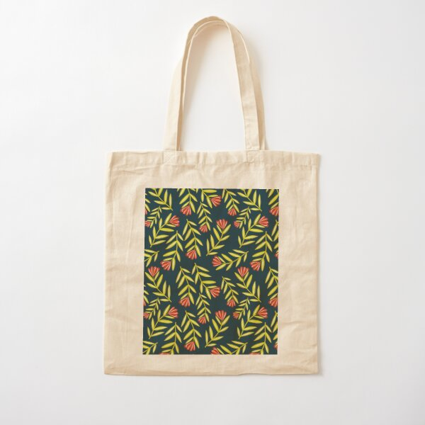 Red Flower Folk Floral with Simple Leaves - Dark Blue Background Cotton Tote Bag