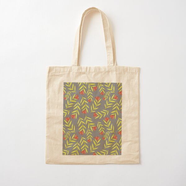Red Flower Folk Floral with Simple Bright Green Leaves - Gray Background Cotton Tote Bag