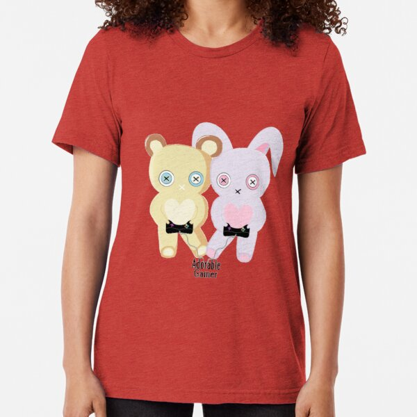 Adorable Gamer ~ Teddy & Bunny Tri-blend T-Shirt