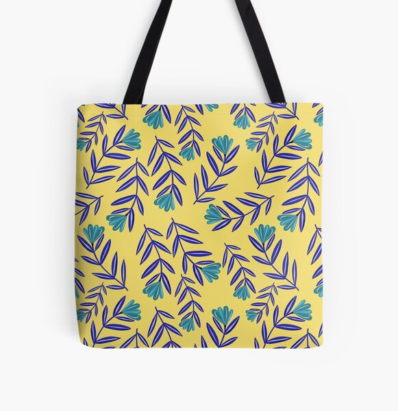Blue Flower Folk Floral with Simple Navy Blue Leaves - Yellow Background All Over Print Tote Bag