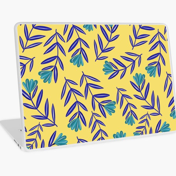 Blue Flower Folk Floral with Simple Navy Blue Leaves - Yellow Background Laptop Skin