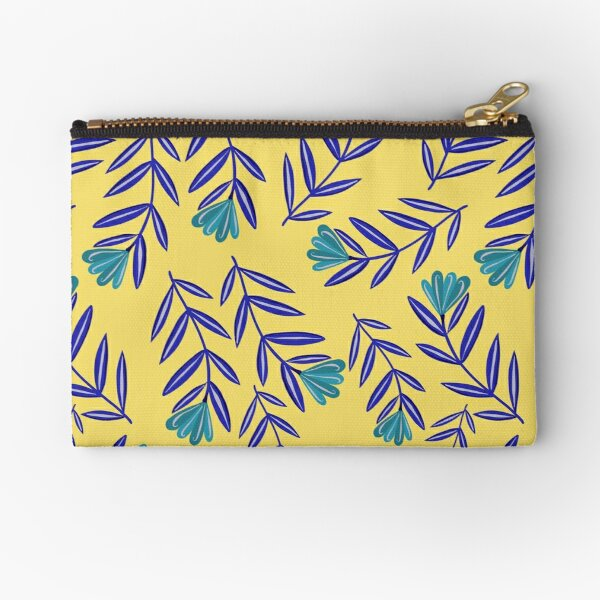Blue Flower Folk Floral with Simple Navy Blue Leaves - Yellow Background Zipper Pouch