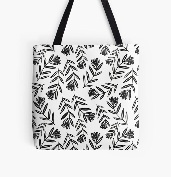Black Flower Folk Floral with Simple  Leaves - White Background All Over Print Tote Bag
