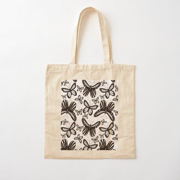 Folkart Butterfly Monarch - Black & White Cotton Tote Bag