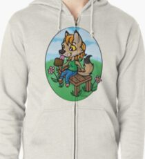 Summertime Treat - Coyote with Ice Cream Zipped Hoodie