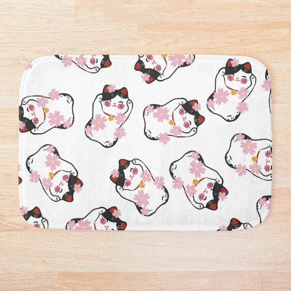 Dark Grey Lucky Cat Pattern Bath Mat