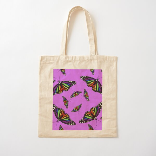 Realistic Rainbow Monarch Butterfly - Lilac Purple Cotton Tote Bag