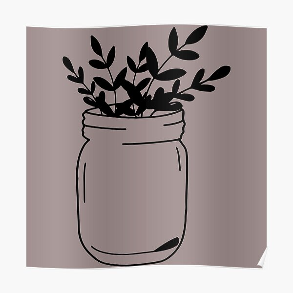 classic mason jar with leaves  Poster