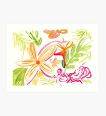 Tropical Plants Watercolour Illustration Art Print