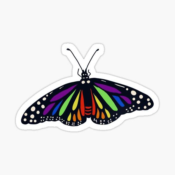 Realistic Rainbow Monarch Butterfly - white Sticker