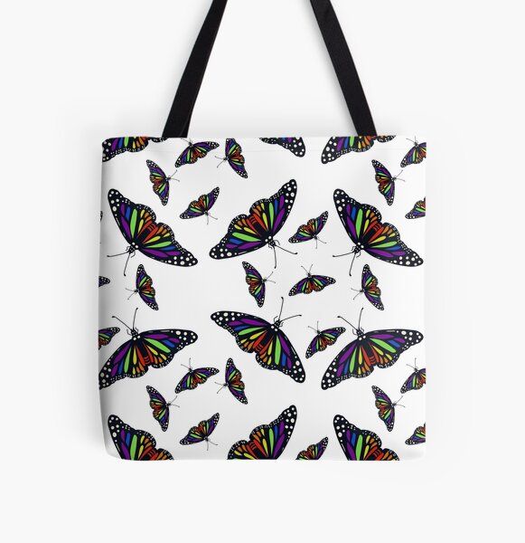 Realistic Rainbow Monarch Butterfly - white All Over Print Tote Bag