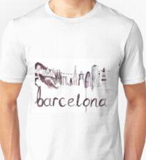 Barcelona Skyline Watercolour Illustration Unisex T-Shirt