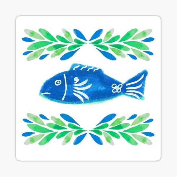 Swedish Folk Fish with Leaf Strokes - Blue Green Sticker