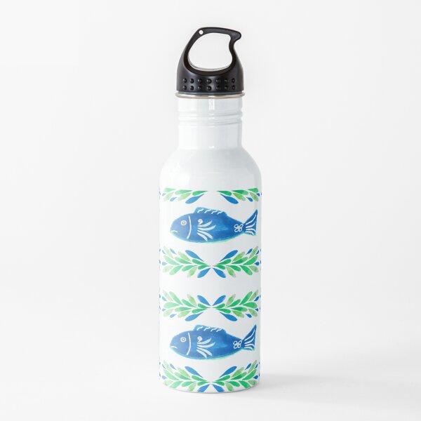 Swedish Folk Fish with Leaf Strokes - Blue Green Water Bottle