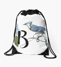 Bluebird Vintage Floral Initial B Drawstring Bag