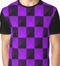 Purple & Black Checkers Pattern Graphic T-Shirt