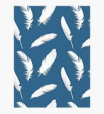 White Feather Print on Denim Blue Photographic Print