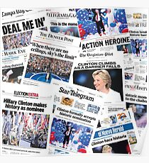 Hillary Clinton Nomination Historic Newspapers Poster