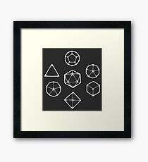 Dot Work Role Playing Dice - White  Framed Print
