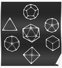 Dot Work Role Playing Dice - White  Poster
