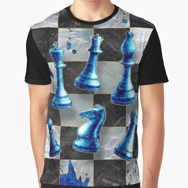 Chess Abstract Art - Blue Marble  Graphic T-Shirt