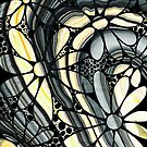 Marbled - Gray And Yellow Flower Art By Sharon Cummings by Sharon Cummings
