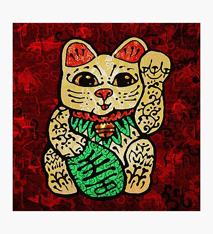 'Shiny Lucky Cat' Photographic Print