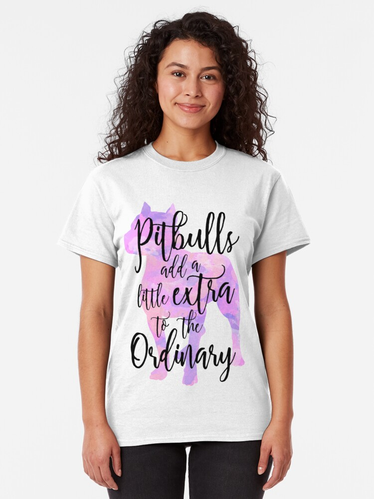 Alternate view of Extraordinary Pitbull Watercolor Classic T-Shirt