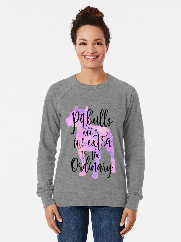 Alternate view of Extraordinary Pitbull Watercolor Lightweight Sweatshirt