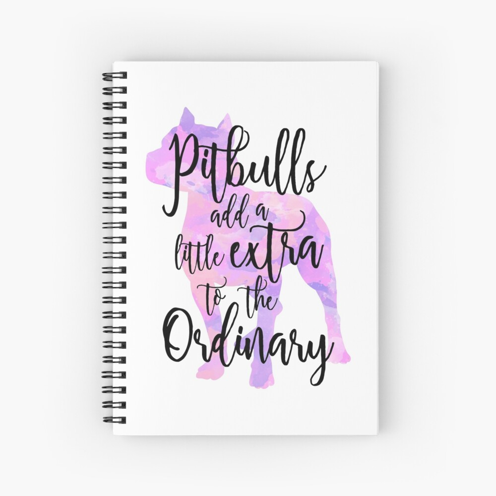 Extraordinary Pitbull Watercolor Spiral Notebook