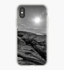B&W of Iconic Lighthouse at Peggys Cove, Nova Scotia iPhone Case