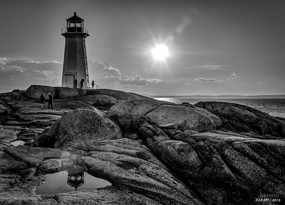 B&W of Iconic Lighthouse at Peggys Cove, Nova Scotia by kenmo