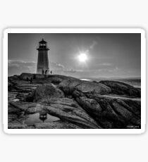 B&W of Iconic Lighthouse at Peggys Cove, Nova Scotia Sticker