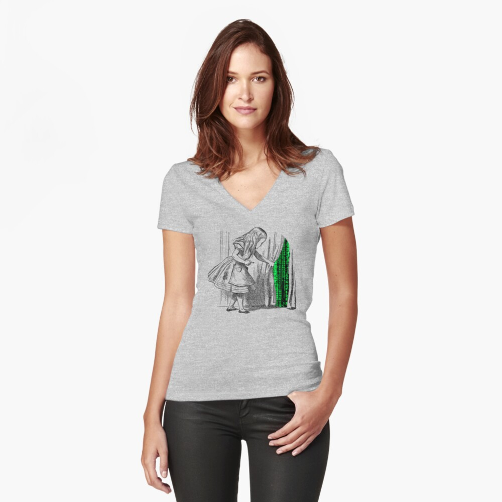 Follow the white rabbit Women's Fitted V-Neck T-Shirt Front
