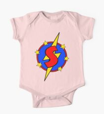 My Cute Little Super Hero - Letter S One Piece - Short Sleeve