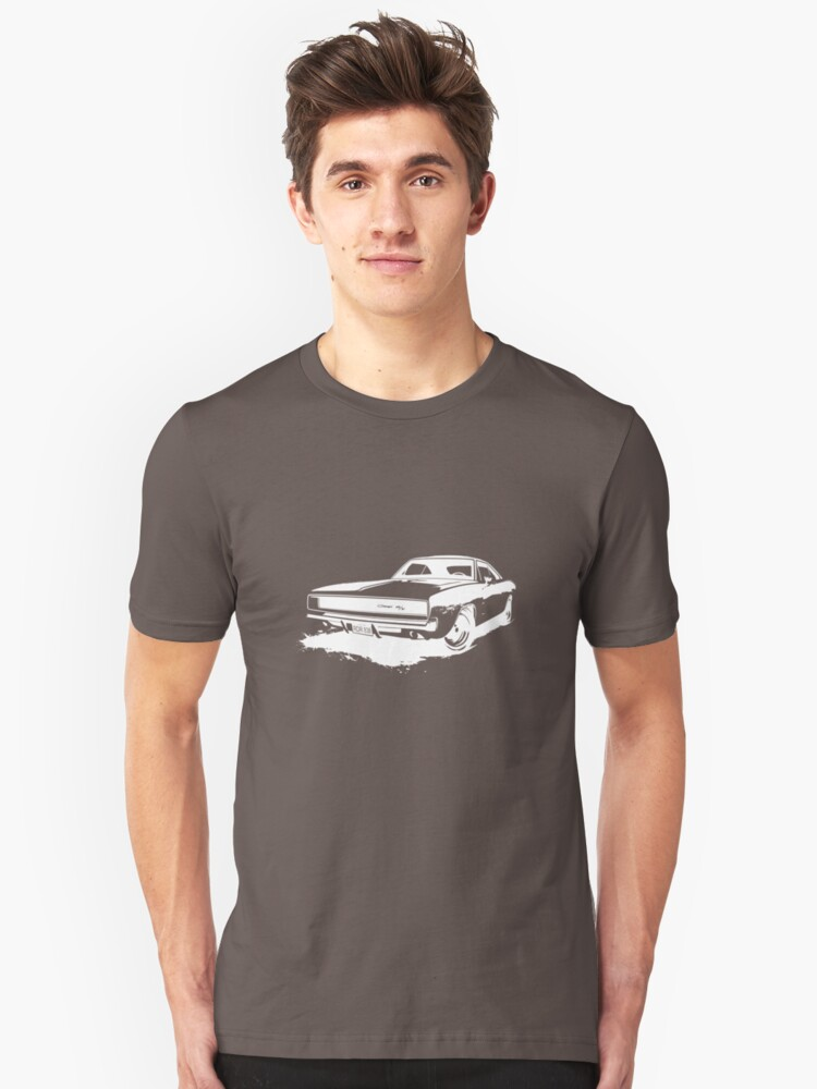 Charger Stencil - White Unisex T-Shirt Front