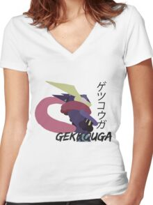 Japanese Greninja! Women's Fitted V-Neck T-Shirt