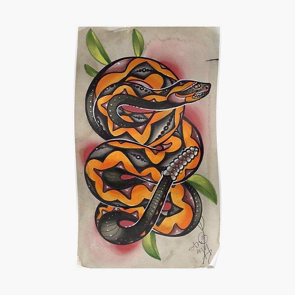 vieux tatouage de serpent Timey Poster
