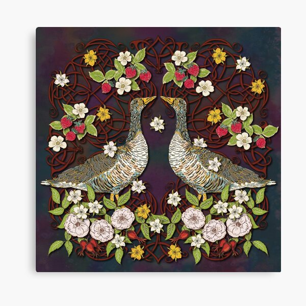 Celtic Geese with Summer Strawberries Canvas Print