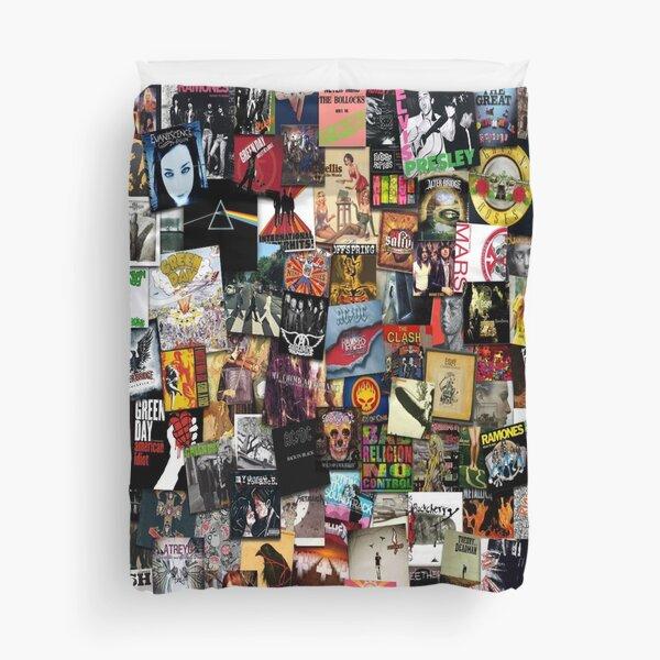 Rock Vinyl Collage Duvet Cover