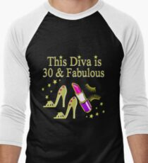 THIS DIVA IS 30 AND FABULOUS GOLD HIGH HEELS Men's Baseball ¾ T-Shirt