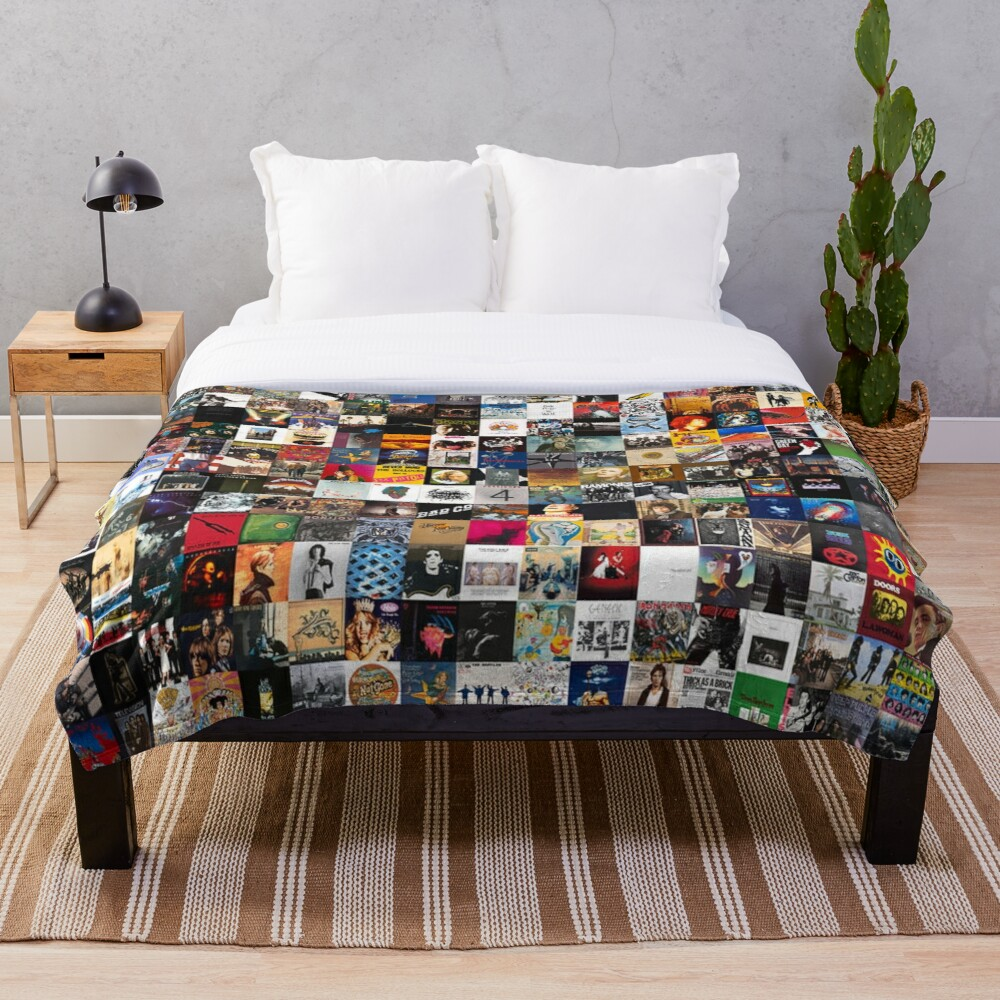 Greatest Rock Albums Collage Throw Blanket