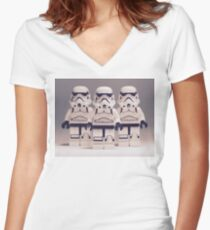 Grey Lego Storm Trooper line up Women's Fitted V-Neck T-Shirt